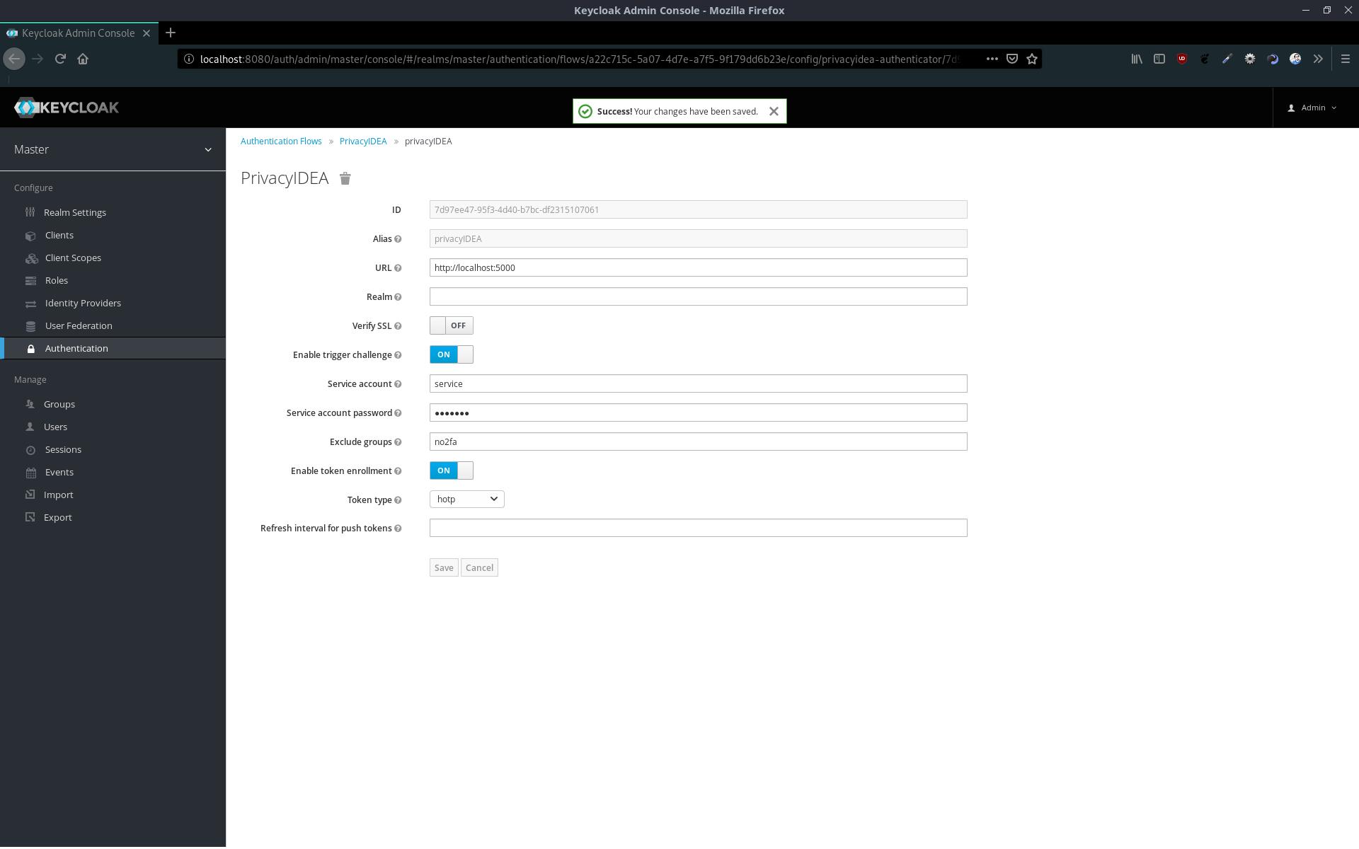 Keycloak - privacyIDEA execution configuration